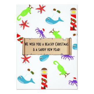 Beachy Christmas and Sandy New Year Sea Creatures Card