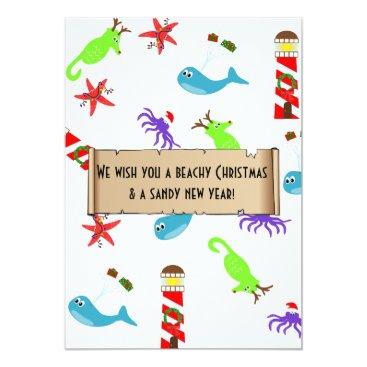 Beach Themed Beachy Christmas and Sandy New Year Sea Creatures Card