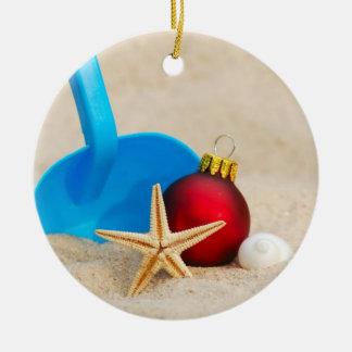 Beachy Christmas Ceramic Ornament