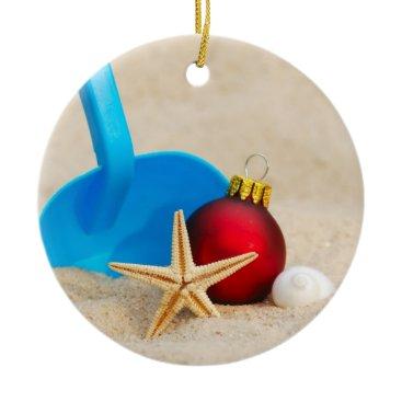 Beach Themed Beachy Christmas Ceramic Ornament