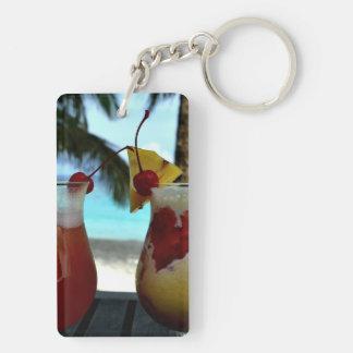 Beachy Cocktails Double-Sided Rectangular Acrylic Keychain
