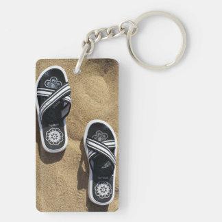 Beachy Flip Flops Double-Sided Rectangular Acrylic Keychain