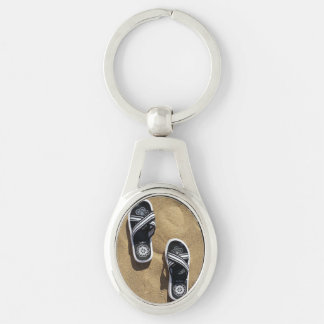 Beachy Flip Flops Silver-Colored Oval Keychain