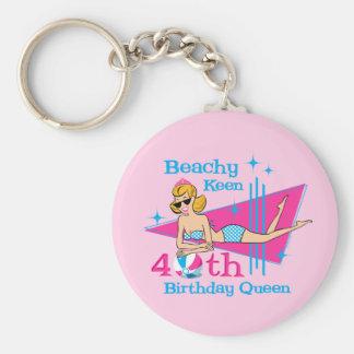 Beachy Keen 40th Birthday Keychains