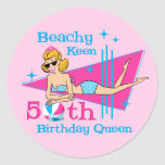 Beachy Keen 50th Birthday Classic Round Sticker