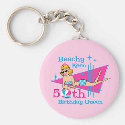 Beachy Keen 50th Birthday Key Chains