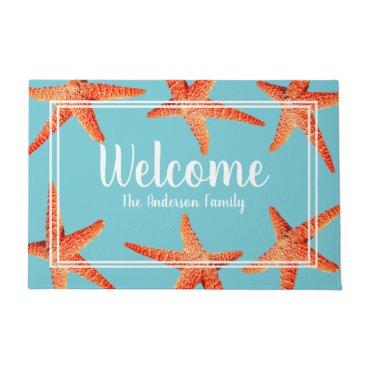 Beach Themed Beachy Nautical Red Starfish Welcome & Family Name Doormat
