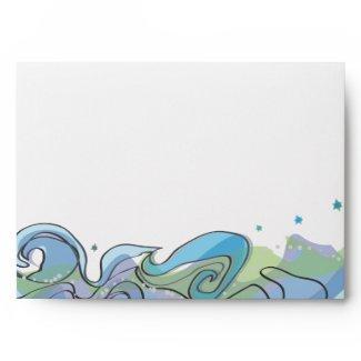 Beachy Ocean Bar Bat Mitzvah Invitation reply card envelope
