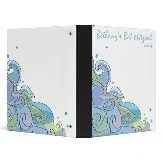Beachy Ocean Wave Bar Bat Mitzvah Photo Book zazzle_binder