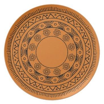 Beach Themed Beachy Orange Mandala Outdoor Plate