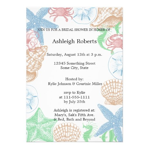 Beachy Personalized Invitations