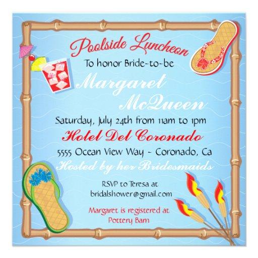 Beachy Poolside Bridal Shower Invitation