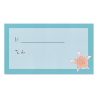 Beachy Starfish Blue Aqua Placecard Double-Sided Standard Business Cards (Pack Of 100)
