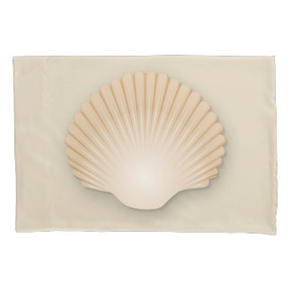 Beachy Tan Scalloped Seashell Pillowcase