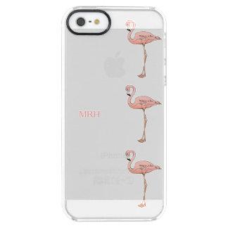 Beachy Tropical Pink Flamingos Optional Monogram Clear iPhone SE/5/5s Case