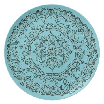 Beach Themed Beachy Turquoise Mandala Outdoor Plate