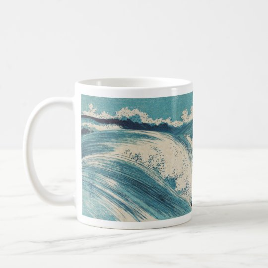 Beachy Waves Japanese Art Wood Print Coffee Mug