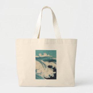 Beachy Waves Japanese Art Wood Print Large Tote Bag