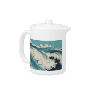 Beachy Waves Japanese Art Wood Print Teapot