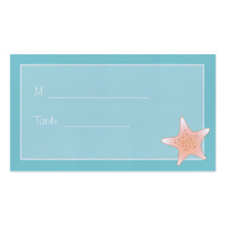 Beachy Whimsical Starfish Aqua Placecard Double-Sided Standard Business Cards (Pack Of 100)