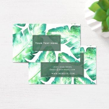 Beach Themed Beachy White & Green Tropical Leaves Chic Business Card