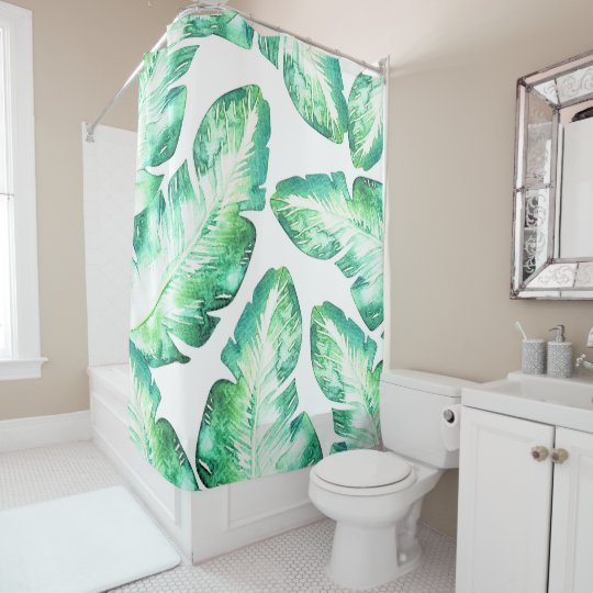 Beachy White & Green Tropical Palm Leaves Chic Shower Curtain ...