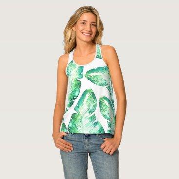 Beach Themed Beachy White & Green Tropical Palm Leaves Pattern Tank Top