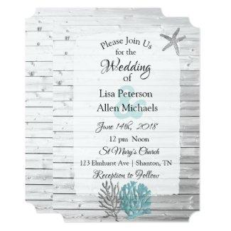 Beachy White Washed Wood Wedding invitations