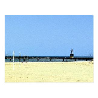 Beacon light at Lake Michigan Postcard