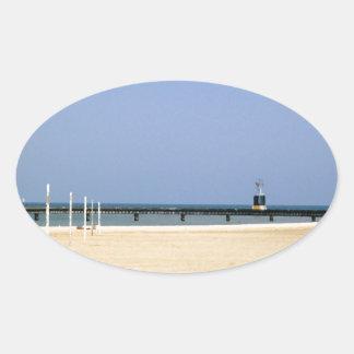 Beacon Light of Lake Michigan Shores Oval Sticker