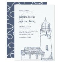 Beacon   Nautical Lighthouse Wedding Invitation