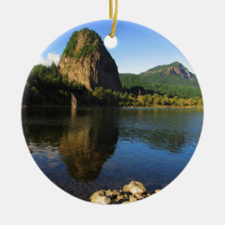 Beacon Rock State Park, Columbia River Gorge. Double-Sided Ceramic Round Christmas Ornament