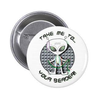 Bead Alien Pinback Button