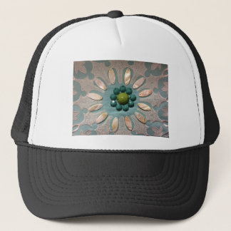 Bead Designed Flower Olive Greens and Blue Greens Trucker Hat