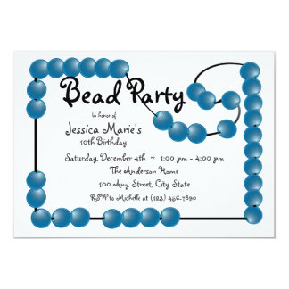 Bead Party 5x7 Paper Invitation Card