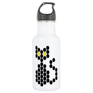 Bead Patterned Black Cat Stainless Steel Water Bottle