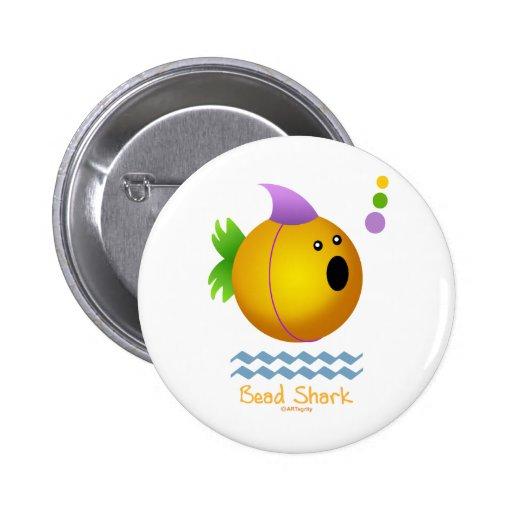 Bead Shark - Gold Pinback Button