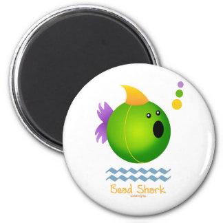 Bead Shark - Green 2 Inch Round Magnet