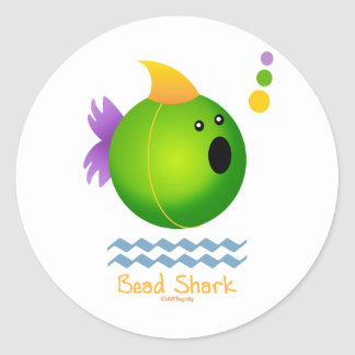 Bead Shark - Green Classic Round Sticker