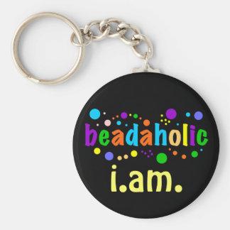 Beadaholic I.AM. - Display your Beading Addiction Basic Round Button Keychain