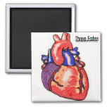Beaded Anatomical Human Heart Square Magnet
