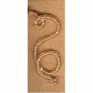 Beaded Backward S Pin Brooch Cut Out