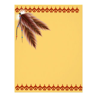 Beaded Brown Feathers Letterhead