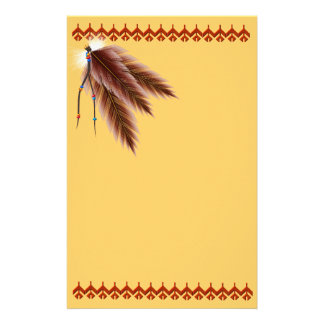 Beaded Brown Feathers Stationery