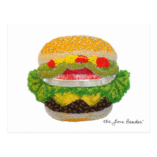 Beaded Cheeseburger Postcard