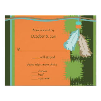 Beaded Feathers 4.25x5.5 Paper Invitation Card