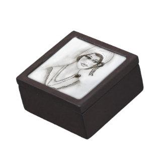 Beaded Flapper Girl Keepsake Box