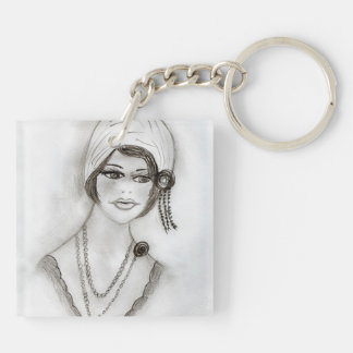 Beaded Flapper Girl Keychain