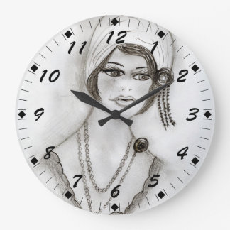 Beaded Flapper Girl Large Clock