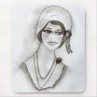 Beaded Flapper Girl Mouse Pad